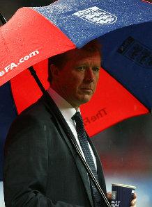 Steve McClaren Under Umbrella