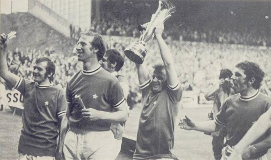 Leeds celebrate winning the final Fairs Cup in 1971