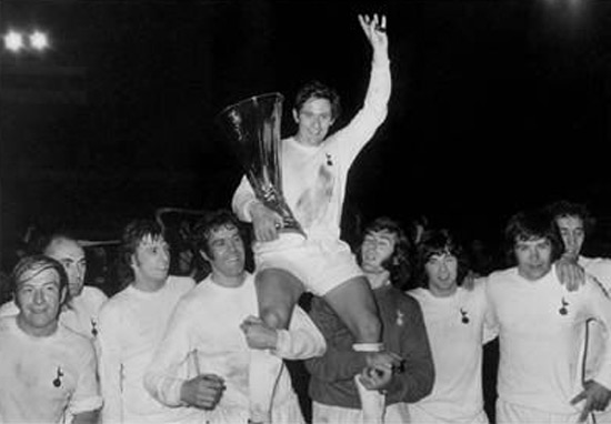 Spurs' captain Allan Mullery lifting the UEFA Cup, celebrating their victory in 1972