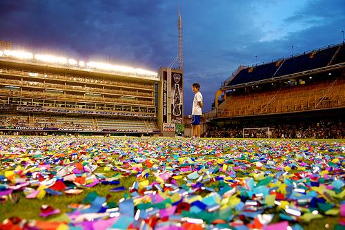 The Bombonera, Boca Juniors' stadium, littered with colour. December 28, 2008.