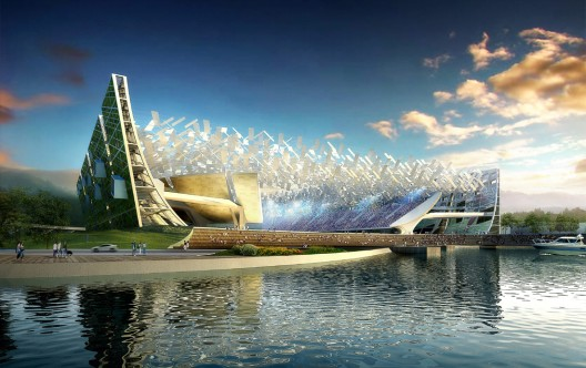 Dalian Stadium rendering -- from the water