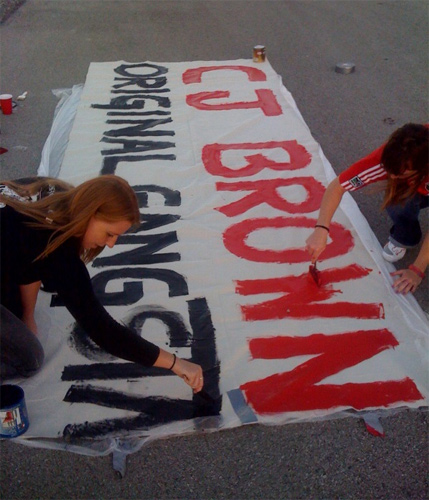 Some last minute freehand banner painting at Toyota Park.