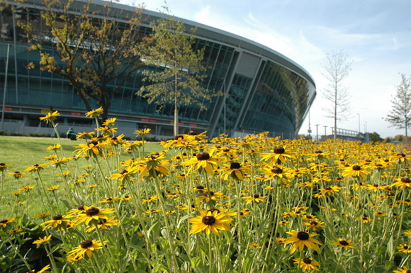 The outside of Donbass Arena, beautifully landscaped.