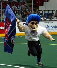 Milwaukee Wave mascot is due for a makeover this year, but his favorite team started out the MISL season this week with their 1st road shutout in the team's 26-year history!