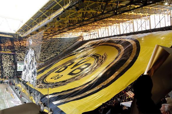 Borussia Dortmund fans giant banner, celebrating the club's one hundredth anniversary. BVB won 1-0 over Freiburg. December 19, 2009..