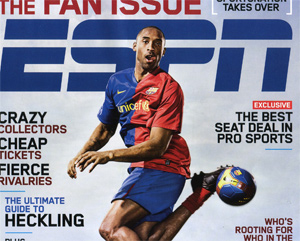 ESPN the Magazine -- Fan Issue cover, Kobe Bryant playing soccer