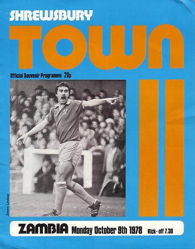 Shrewsbury Town vs. Zambia programme cover