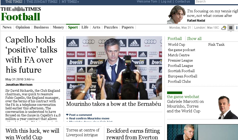 The Times football section