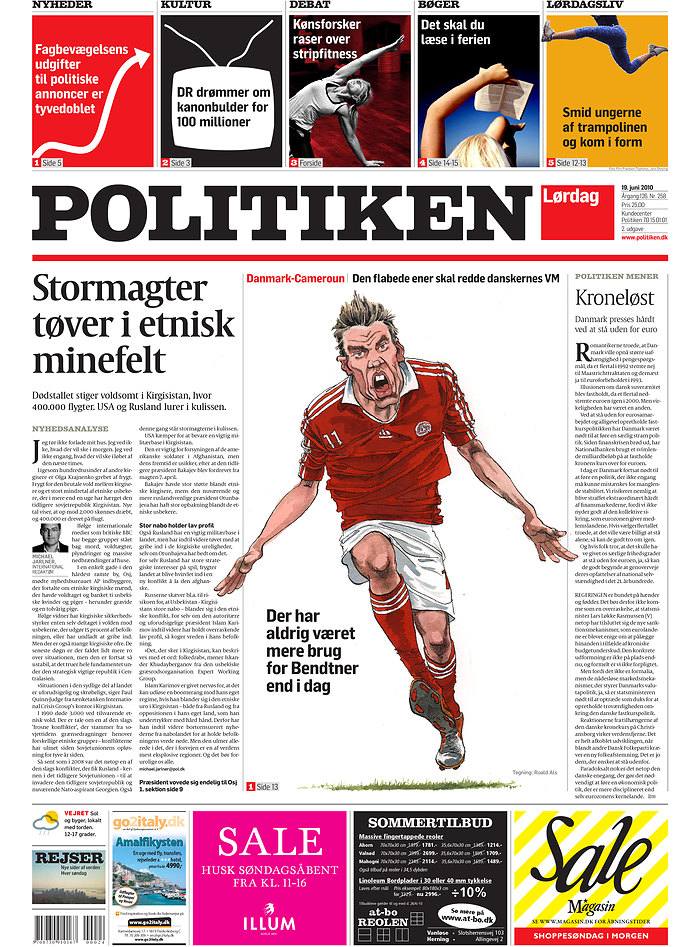 Denmark, Cameroon, World Cup, South Africa, Newspaper, Politiken