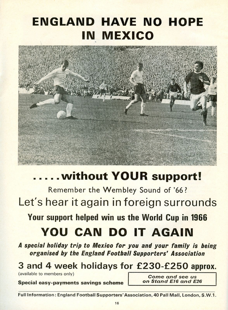 England, Mexico, 1970 World Cup, Fans