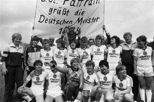 The team of German football club SSG 09 Bergisch-Gladbach celebrate their 3:1 win against FSV Frankfurt on June 30, 1984 in Frankfurt, Germany. It is their seventh victory of the German Soccer Championship. (AP Photo/Helmut Fricke)