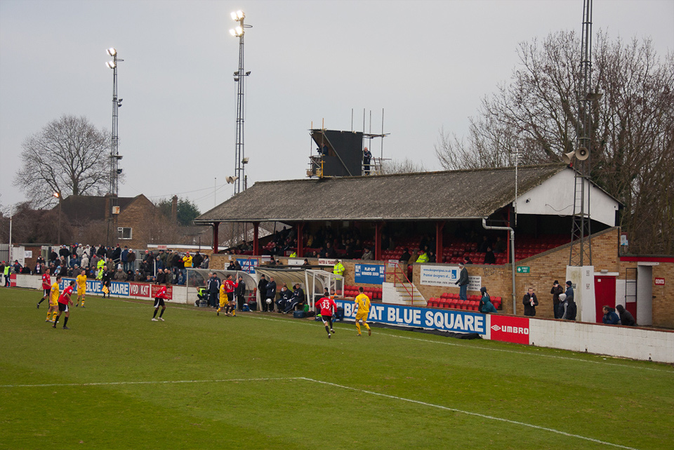 The grandstand picture has now been demolished. Hayes & Yeading vs. Kidderminster Harriers, Church Road, Hayes - January 2011