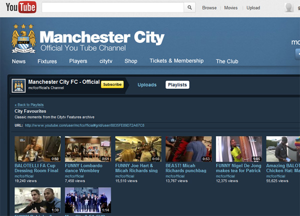 Man City YouTube Channel