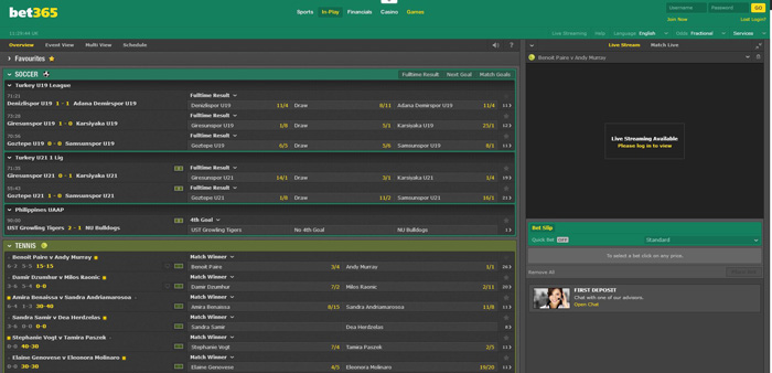 Bet365 In-Play Interface