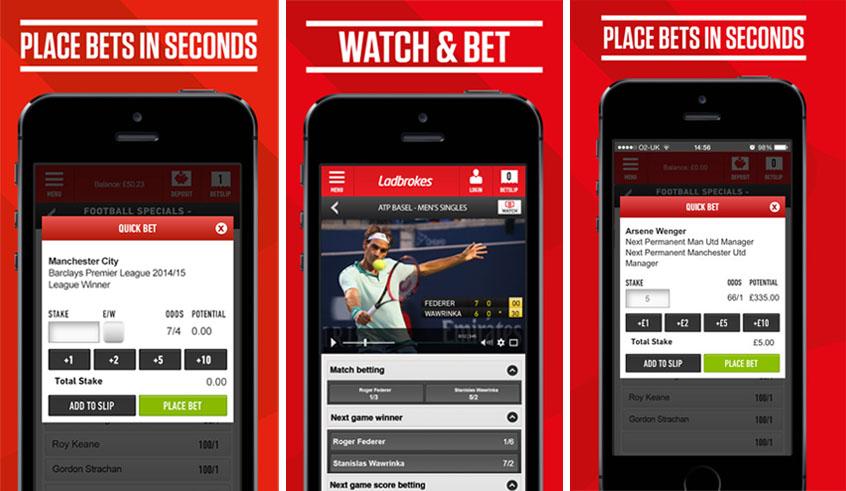 screenshot of ladbrokes betting screens