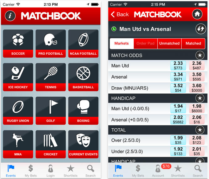Matchbook app